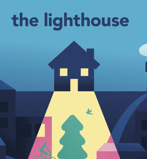 A graphic of a house shining a light on a city